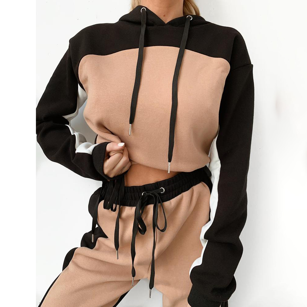 NIBESSER New Hip Hop Womens 2 Piece Outfits Hooded Crop Top And Long Pants Sports Fitness Tracksuit Lady Two Pieces Outfits