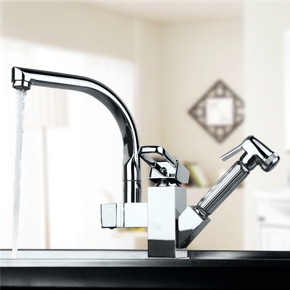 Torneira Cozinha Polished Chrome Brass Double Spouts 360 Degree&Pull Out Kitchen Faucet.Kitchen Tap Sink Mixer