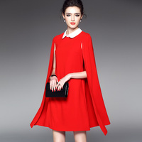 Spring 2017 Couture Fashion Lapel Cloak Slim Package Hip Red Dress