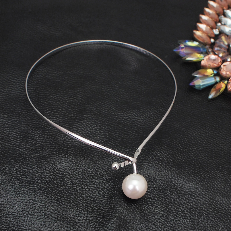 Alloy Torques Simulated Pearl Pendants Necklaces For Women Simple Design Statement Metal Collar Choker Necklace Jewelry UKMOC 7