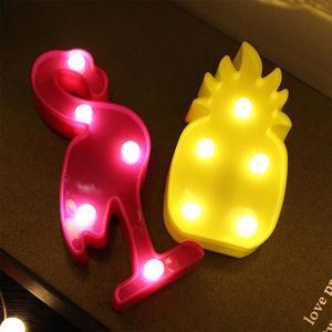 Image 4 - Светодиодный мини ночник с 3D фламинго, табличка с Фламинго/КАКТУСОМ/ананасом, настольные 3d лампы, настенная лампа с Луной, приспособление для домашнего декора, лампа