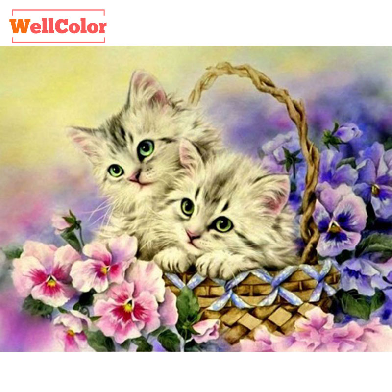 DIY Diamond Painting Kitten Cats in Basket Mosaic Foto's - Kunsten, ambachten en naaien