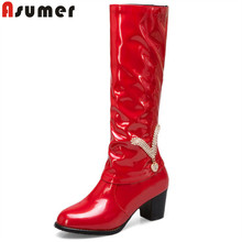 ASUMER black fashion autumn winter boots women round toe high heels knee high boots ladies prom shoes woman boots plus size