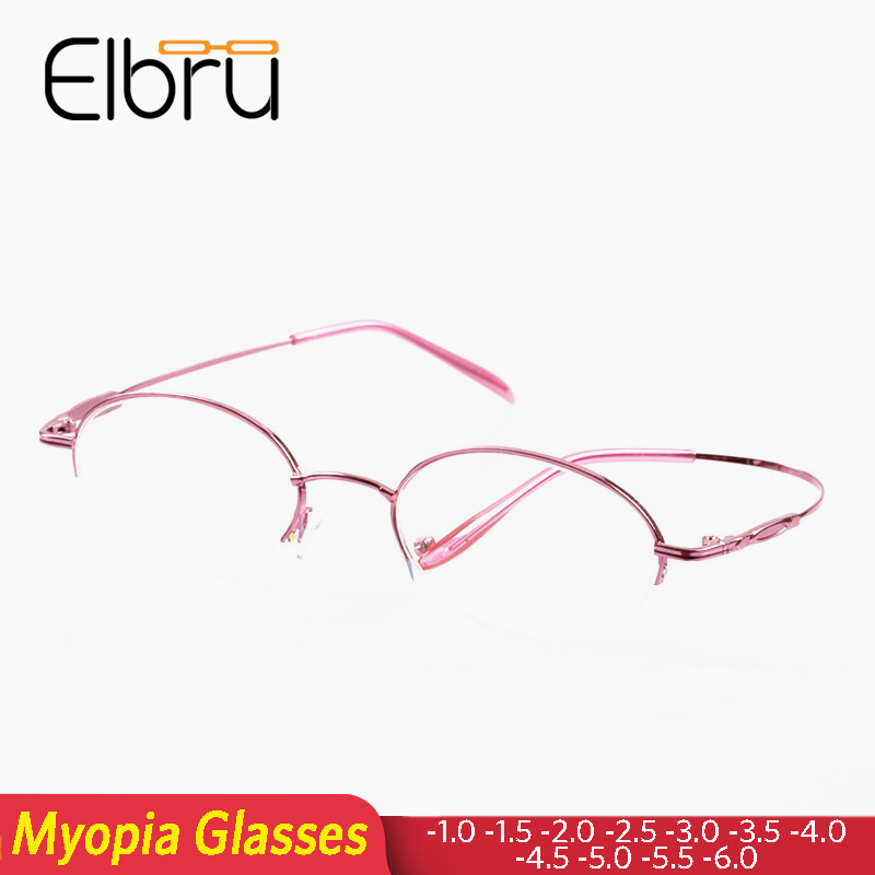 Elbru Lady Oval Half Frame Finshed Myopia Optical Glasses Women Nearsighted Shorsighted Glasses Female Diopters -1.0 To -6.0