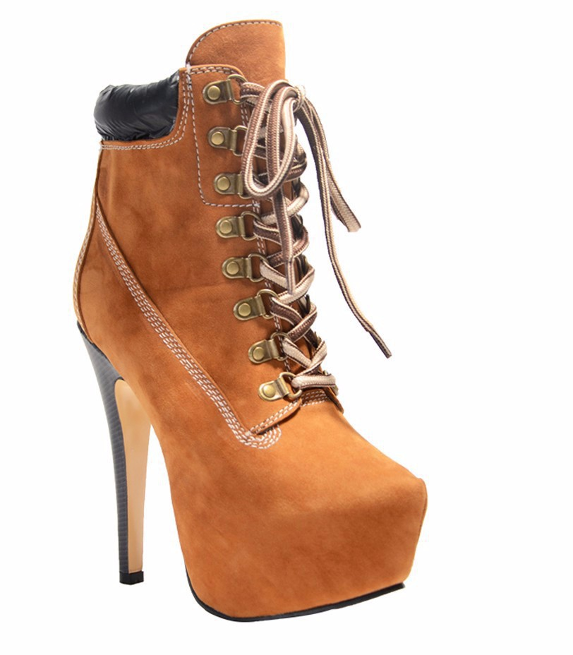 ФОТО Ladies Boots 2017 Round Toe Lace-up Stiletto Heel Platform Ankle Winter Booties For Women Handmade Shoes Plus Size 44