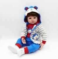 Преследовать 24 /60 см реальной жизни куклы Reborn Baby Boy куклы мягкое тело карие глаза для малышей ручной работы ткань подарки для детей