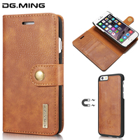DG MING Advanced Cowhide Detachable 2 In 1 Luxury Leather Wallet Case For IPhone 6 6s