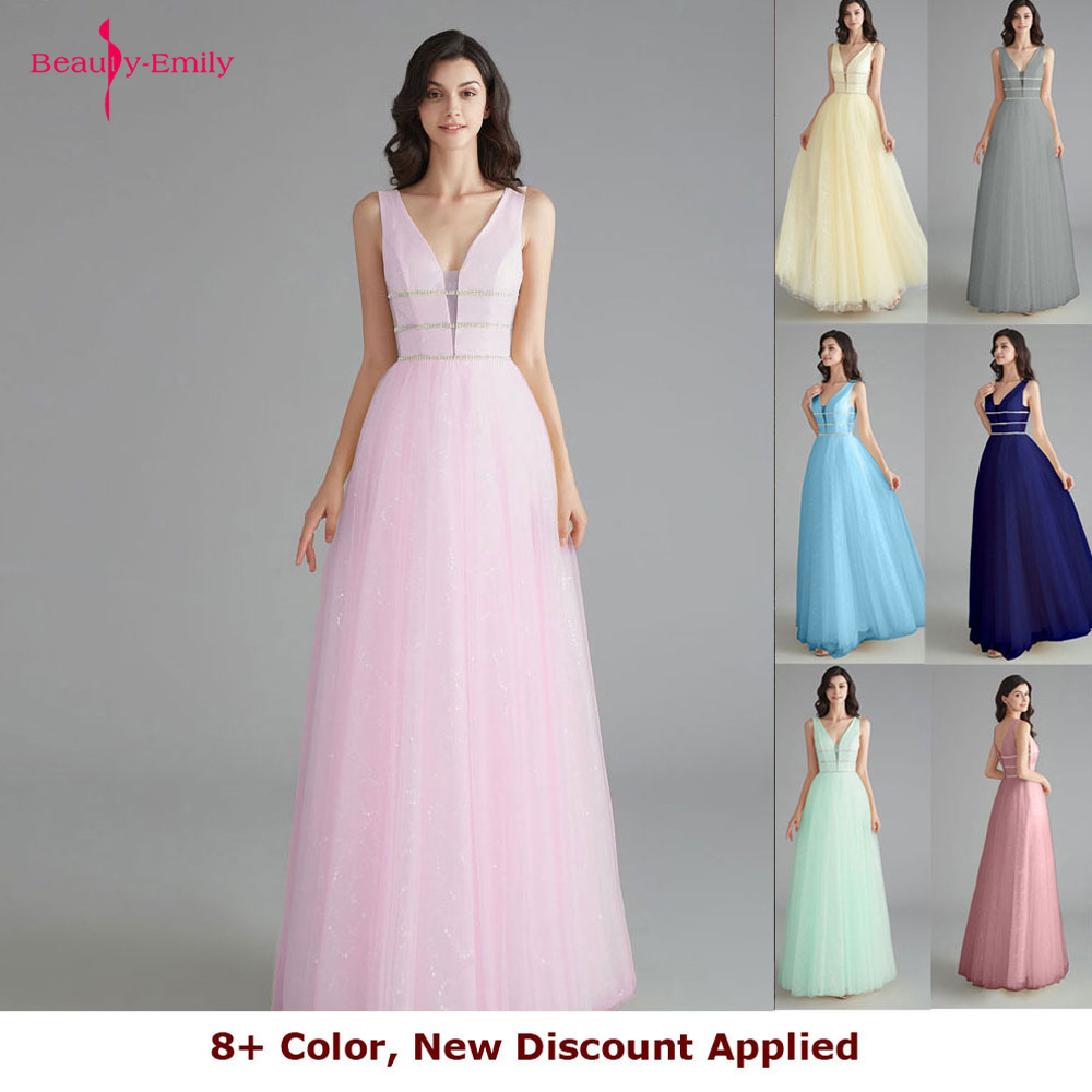 Beauty Emily Elegant Bridesmaid Dresses V Neck Sleeveless Sequins Appliques Party Dress 2019 Long Pink Prom Gowns For Wedding