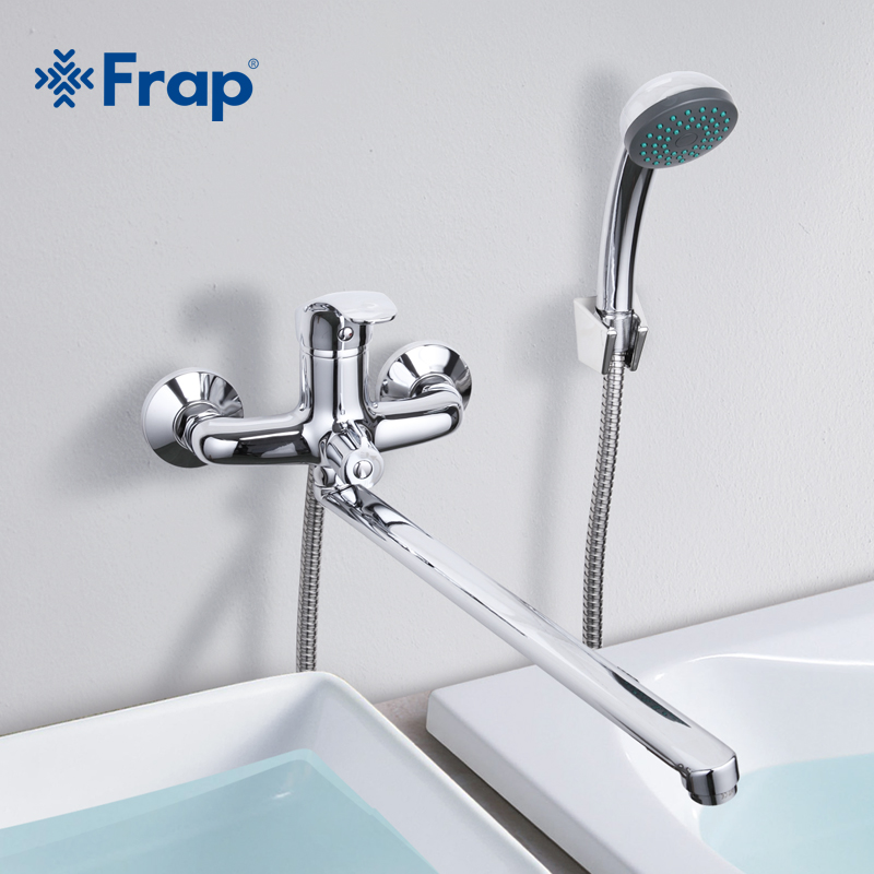 Frap 1 Set Bathroom Faucet Cold and Hot Water Mixer Chrome Finished Tap 40cm Rotation Long