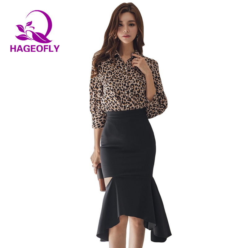 c581cb2630b 2019 New Korean Fashion Suit Two Pieces Sets Leopard Shirt Long Sleeved  Tops Blouse Irregular Pencil Mermaid Skirt Women s Suit-in Women s Sets  from Women s ...