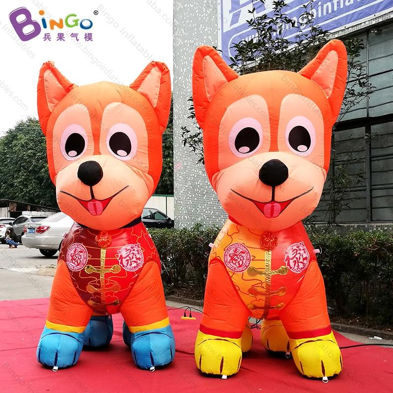 Китайский новый год 2 метра высокая большая надувная собака Подгонянный декоративный светодиодный светильник воздушно выдувная собака игр... - 4