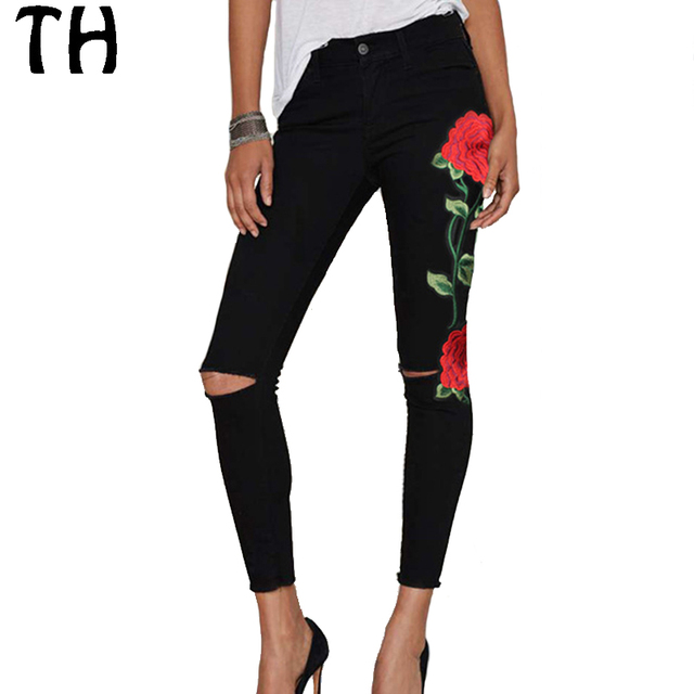 2017 Srping Slim Casual Ripped Jeans for Women Rose Embroidery High Waist Jeans Fashion Street Pencil Pants #161965