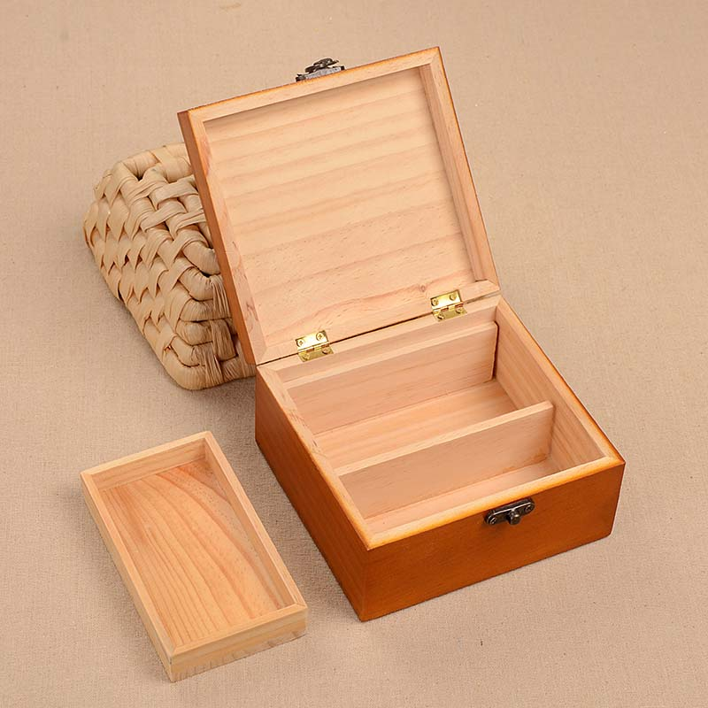 Treasure chest solid wood sewing box antique wind sewing hand sewing thread household sewing kit in Sewing Tools Accessory from Home Garden