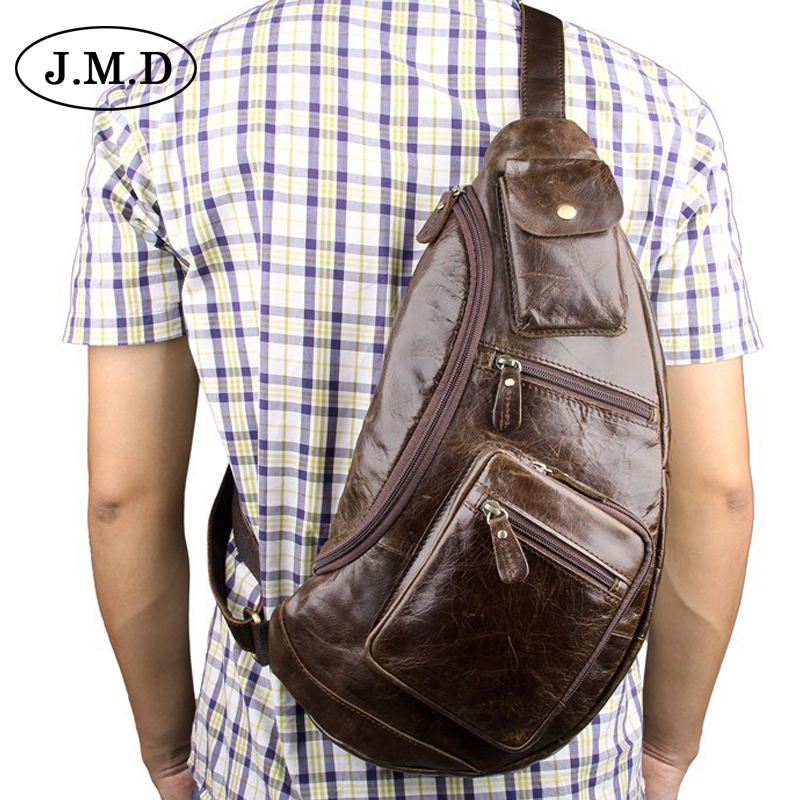 J.M.D NEW Genuine Leather Casual Cowhide Chest Pack Large capacity fashion Style Men Mobile Bag Men's Messenger Bags 7236 tinyat men functional multilayer bag cool casual chest bag pack morden outside large capacity messenger bag pack t509 black