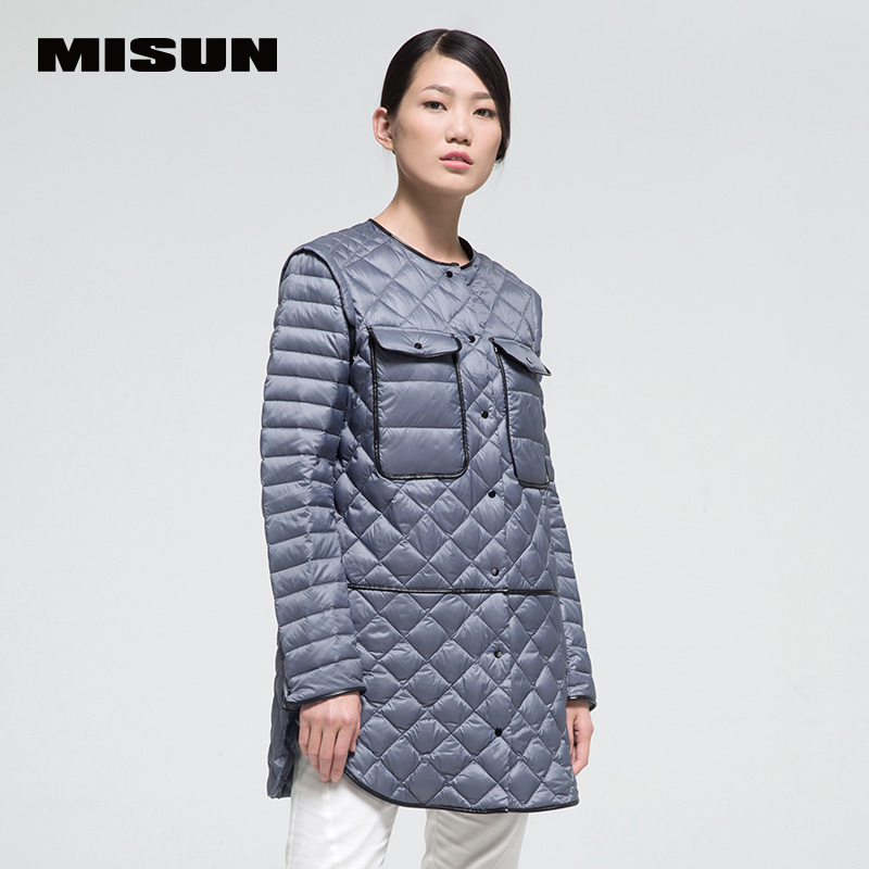ec2a12e9a0 High quality misun 2018 autumn and winter medium-long PU patchwork thin down  coat female