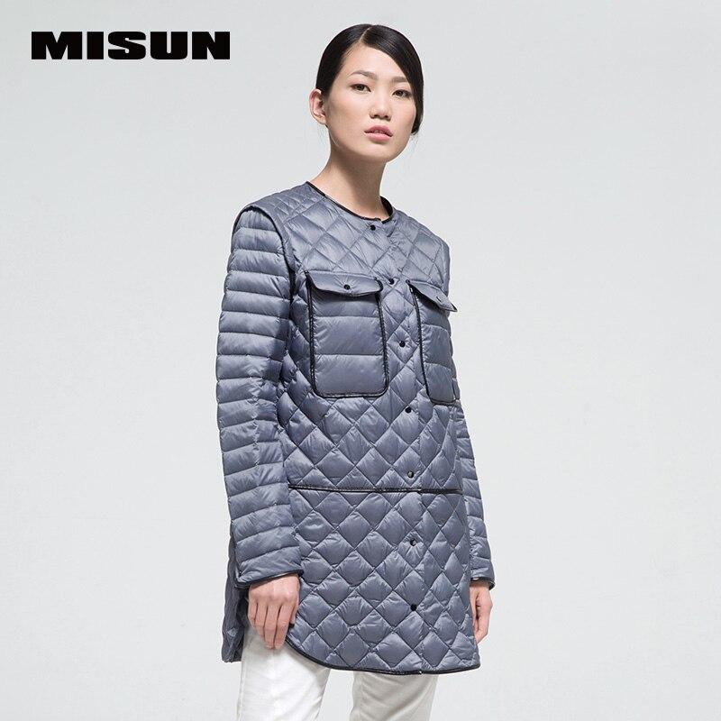 High quality misun 2018 autumn and winter medium-long PU patchwork thin down coat female shirt fashion  spring women's jackets