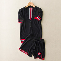 Europe 2018 Spring Summer New Short Sleeve Cardigan Short Knitted Casual Sportswear Suit White Red Black