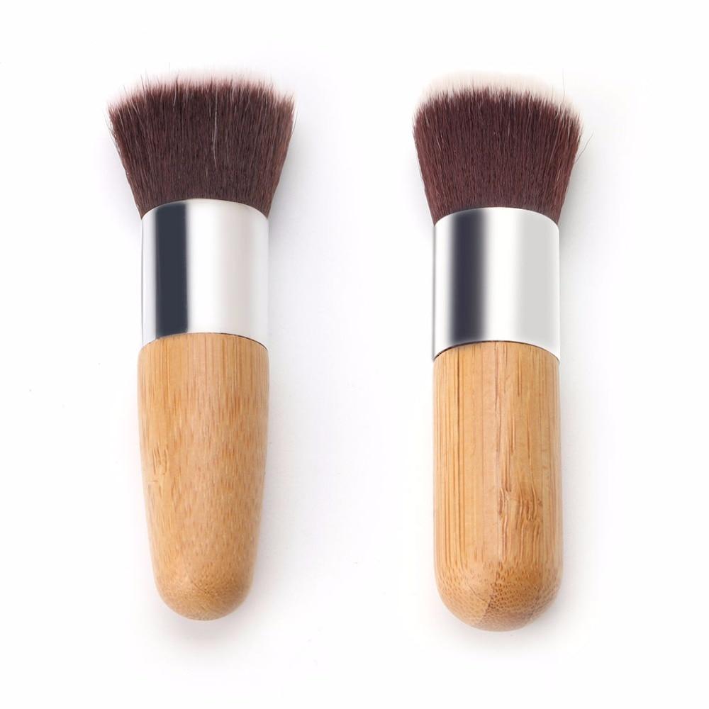 1PC Pro Cosmetic Kabuki Makeup Face Blush Foundation Powder Flat Round Brush flat foundation face blush kabuki powder contour makeup brush cosmetic tool hot sale