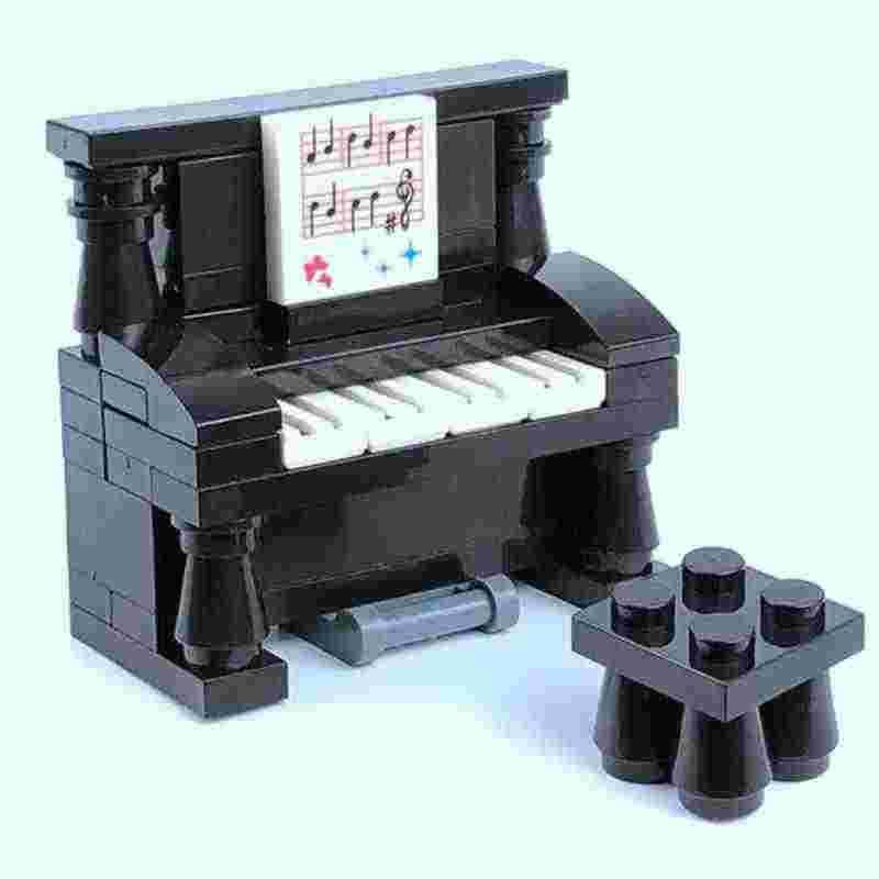Vergrendeling Schepper Vrienden Heartlake Huis Kamer Dubbele Bed Sofa Piano Bureau Scènes Makers Blokken Moc Accessoires Onderdelen Speelgoed Vriend
