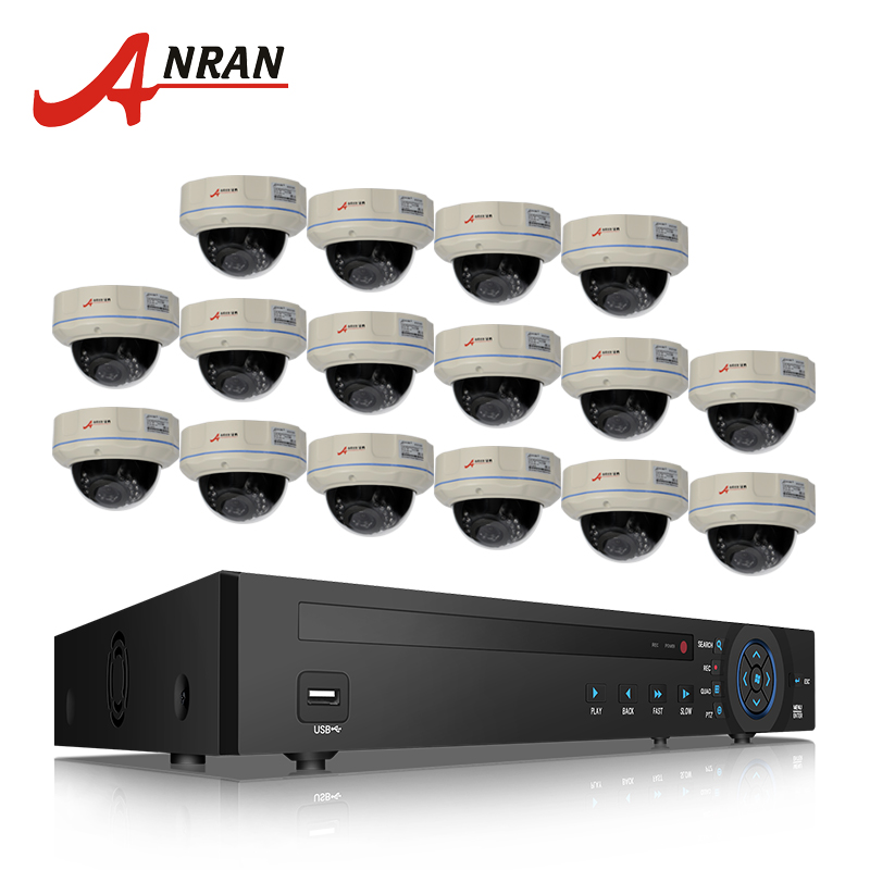 ANRAN 16CH NVR CCTV System 6TB HDD 1080P HD H.264 Outdoor Surveillance Kit Vandal-proof Dome Network IP Camera POE System 16ch nvr security cctv system 6tb hdd 1080p hd h 264 25fps 30 ir outdoor vandal proof dome network ip poe camera 24ch poe switch