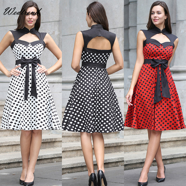 Wedtrend Vintage Dresses Dots Zipper Fashion Spring Summer Knee Length 1950s Retro Beautiful High Quality Women