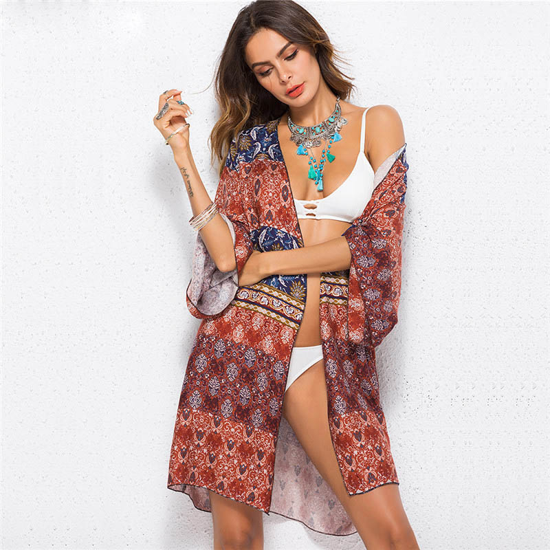 3e275f69c Zoe Saldana 2019 Boho Beach Cardigan Blouse Cape Women's Fashion Print Summer  Long Kimono Coat -in Blouses & Shirts from Women's Clothing on  Aliexpress.com ...