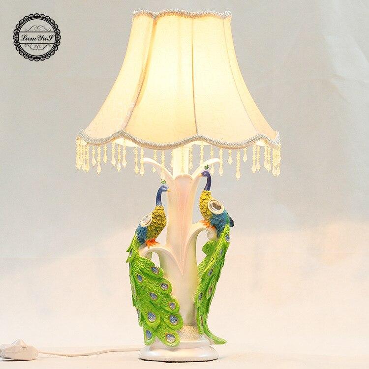 Туда 24X67 см светодиодный настольная лампа Европейский Стиль настольная лампа Творческий павлин в форме Смола настольные лампы для Спальня ...