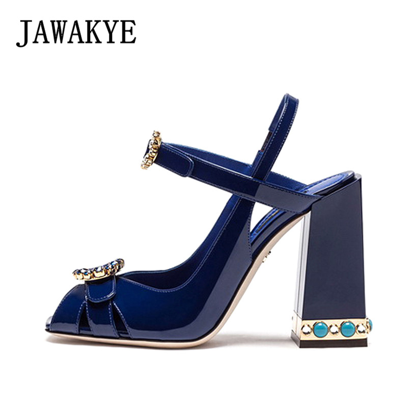 New Runway Designer Women Sandals Jewel Heel Blue leather Chunky High Heel Shoes Pumps ladies Crystal Buckle Sandals Party shoes rainbow rainbow ritchie blackmore s rainbow lp