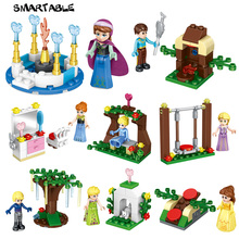 Smartable 8pcs girls Building Blocks Princess Anna Elsa Kristoff Hans Figure font b toys b font