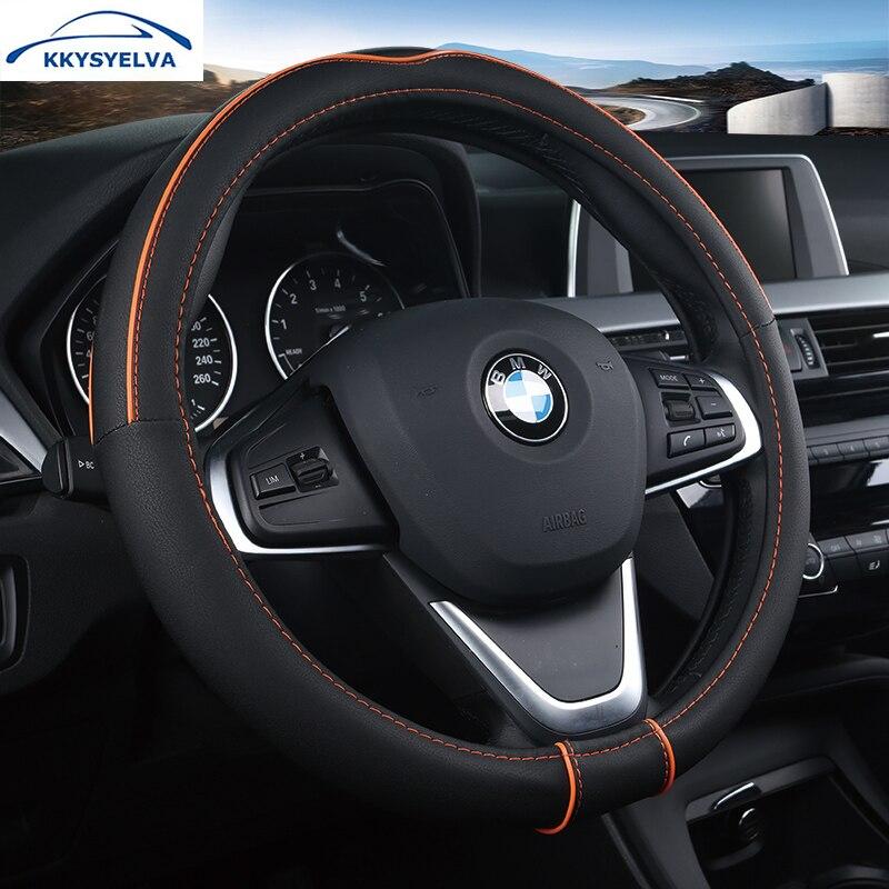 KKYSYELVA Universal Car Steering Wheel Cover Leather Steering-wheel Covers Auto wheels Interior Accessories