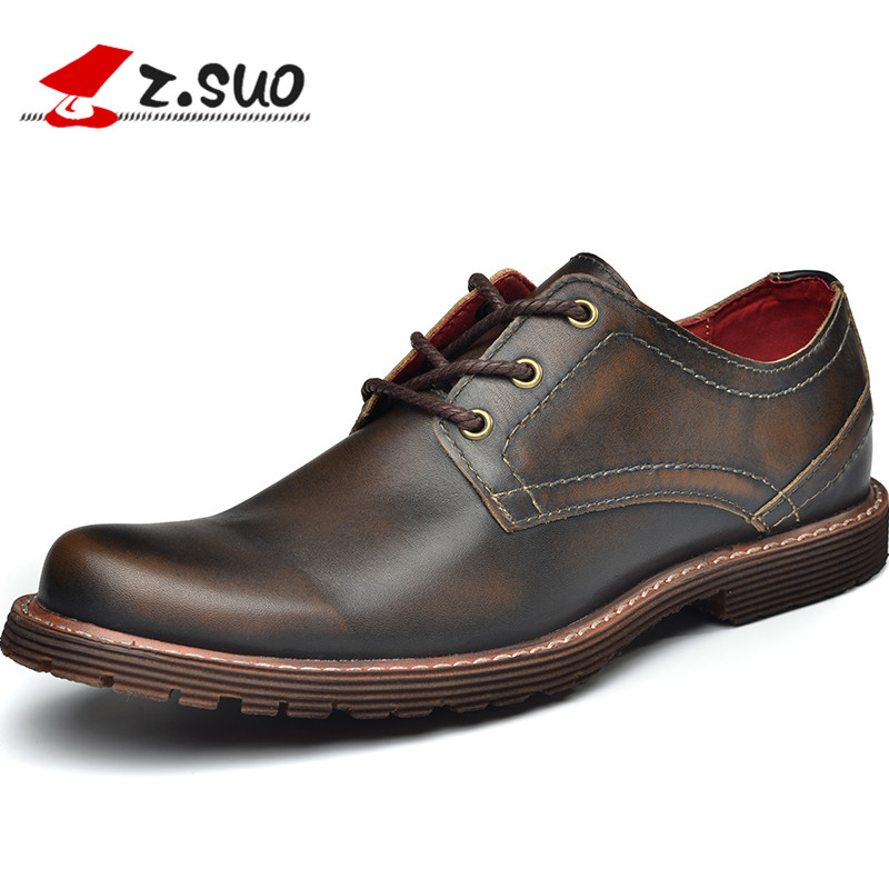 Z Suo 2017 Brand Fashion Mens Casual Shoes Luxury Genuine Head Layer Cow Leather Tooling Shoes Work Safety Business Shoes