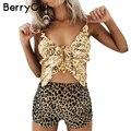 BerryGo Mariposa oro lentejuelas camisola sin mangas Sexy profundo escote en v cuello corto backless mujeres tops de Verano del partido del arco bustier crop top