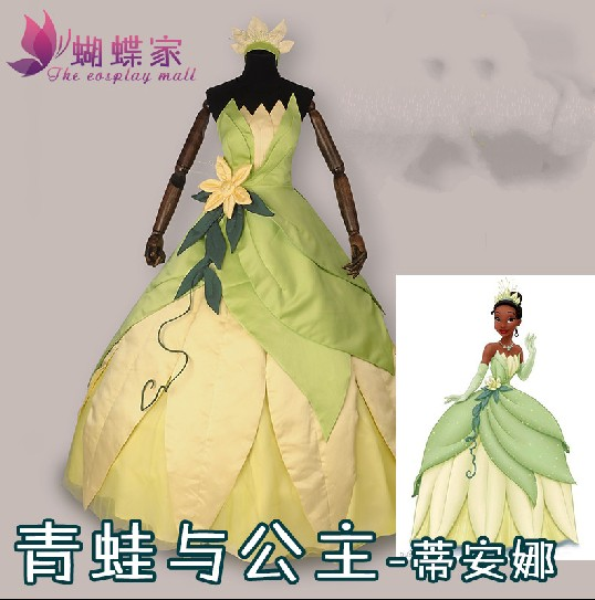 Customized The Princess and the Frog Cosplay Princess Tiana Dress Adult Princess Tiana Costume Halloween Party Costume For Women