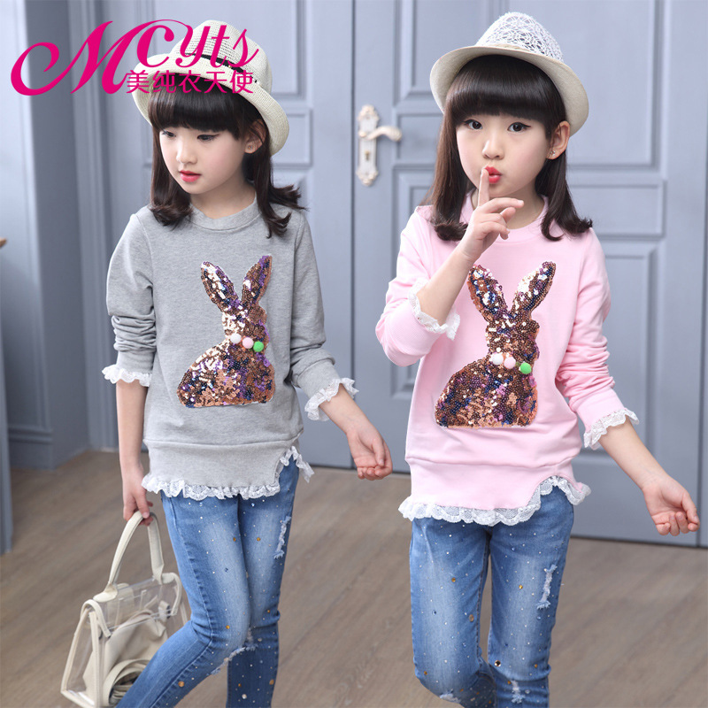 Baby Girls T-shirt Autumn Round Neck lace Sleeve Sequin Shirt Base Solid Color Long Sleeve T Shirts for Girls Cotton Clothes grey lace details stripe round neck cami