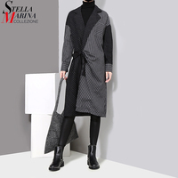 2017 Winter Collection Women Black Striped Dress With Sashes Long Sleeve Patchwork Style Female Midi Casual