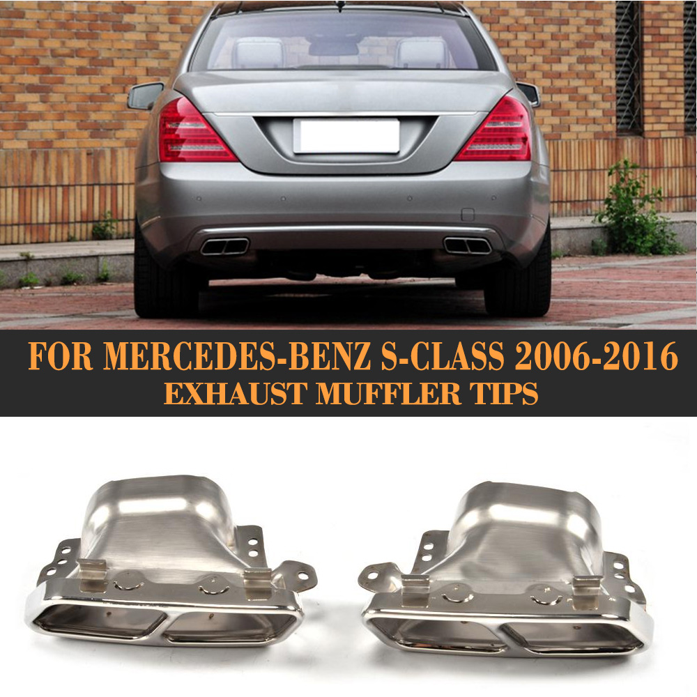 S Class car auto Rear exhaust tip Muffler for Mercedes Benz W222 W221 C217 Sedan Coupe 2006-2016 S63 S65 S55 AMG S400 S500 S600 mercedes scarichi quadrati