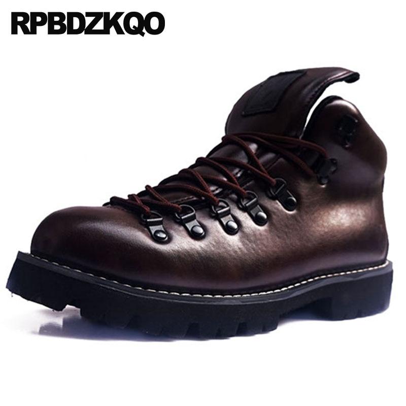 Moda Zapatos Ejército Talla Combate Cordones Grande Alta Calidad vino Botas Impermeable Diseñador Tinto Calzado Botines Con Marrón De coffee Militar Otoño Marrón 4qznEIp