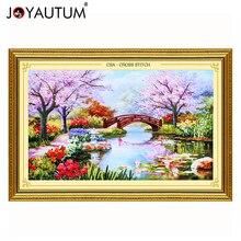 Handwerk Lint borduurwerk 100X65 cm print 3d kruissteek schilderijen landschap bloemen Cherry hut handwerken diy kits patroon