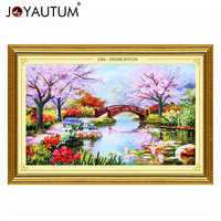 handwork Ribbon embroidery 100X65CM print 3d cross stitch paintings landscape flowers Cherry hut needlework diy kits pattern