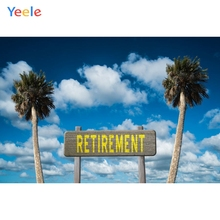 Yeele Photography Backdrops Street Sign Retirement Party Sky Photographic Backgrounds Vacation Coconut Trees For Photos Studio