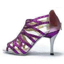 Shoes dance latin 8.5cm Slim high heel Leather soft sole Red Black Silver Pink Ballroom Salsa Women Latin Shoes Sandals NL008