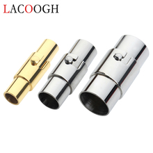Lacoog 2Pcs 2/3/4/5/6/7/8/9/10MM Leather Cord End Strong Cap/ Magnetic Clasp With Locking Connector For Bracelet Necklace Making