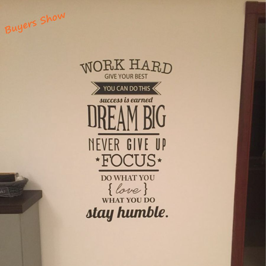 Office Motivational Quotes Wall Sticker Never Give Up Work Hard Vinyl Wall  Decal In Wall Stickers From Home U0026 Garden On Aliexpress.com | Alibaba Group
