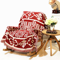 Geometric patterns vintage leisure blanket coarse cotton bed cover sofa towel living room Felts Double sided tapestry Carpet