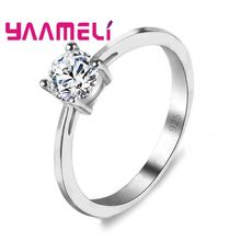 Women Fashion 925 Serling Silver Jewelry Rings For Weddings/ Engagements Big Sale Finger 4 Prongs Cubic Zirconia