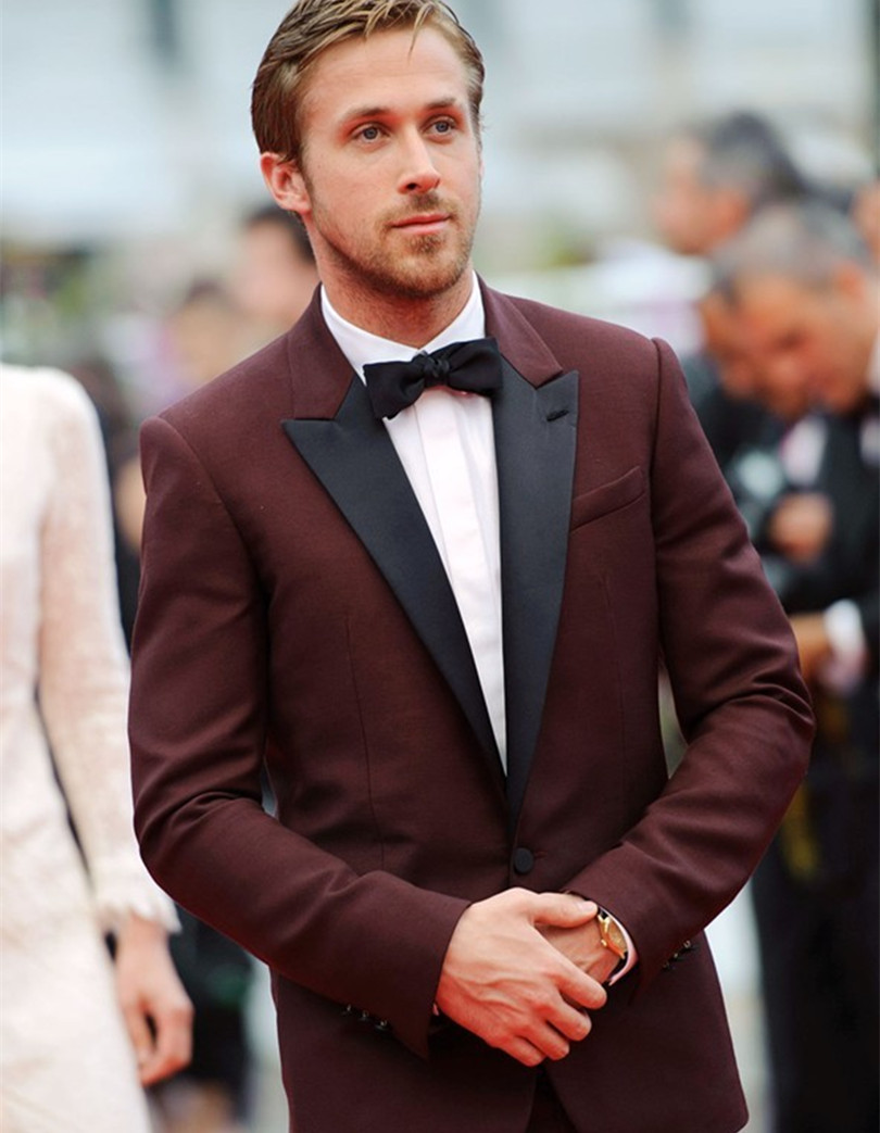bespoke mens suits burgundy tuxedo jacket red black tuxedo slim ...