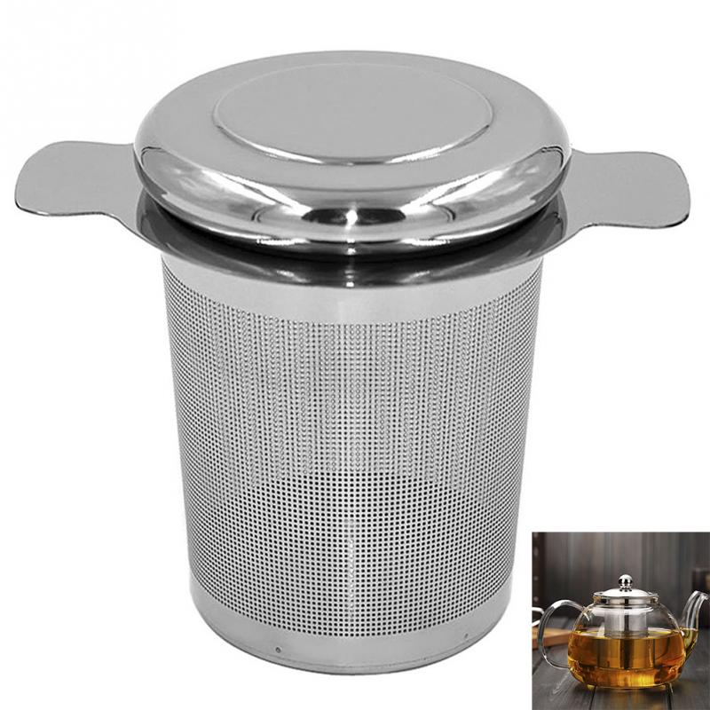 Reusable Stainless Steel Tea Infuser Basket Fine Mesh Tea Strainer With 2 Handles Lid Tea Coffee Filters For Loose Tea Leaf #137