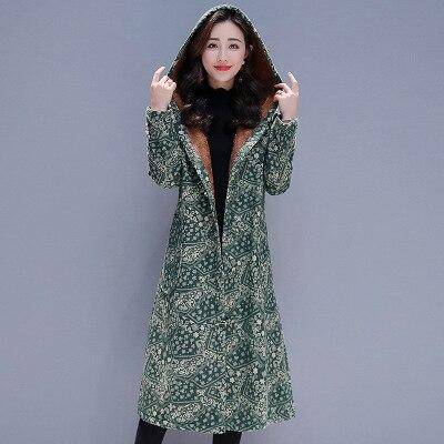 Rétro Chaud Capuchon Femelle Femmes Style D'hiver À 1 Velours 3 De Et Marée Lâche 2 Long Coton Épais Mode Ethnique Manteau Floral Ms Sauvage qX6pvfxdww