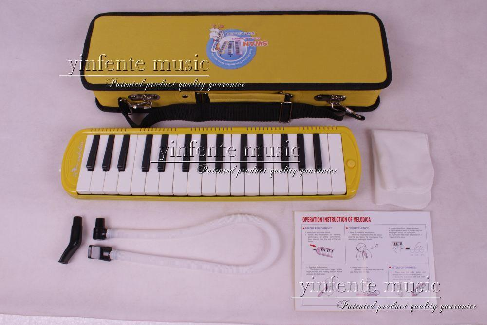 New 32 KEY MELODICA yellow Nice Bag Nice Sound High quality Swan 1x swan 37 keys melodica black color teaching music fundamentals mouth organ melodica musical instruments accordion accessories