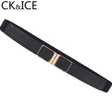 CK ICE Women Candy Color Belt Slim PU Leather Metal Buckle Small Belts Accessories Female Elastic